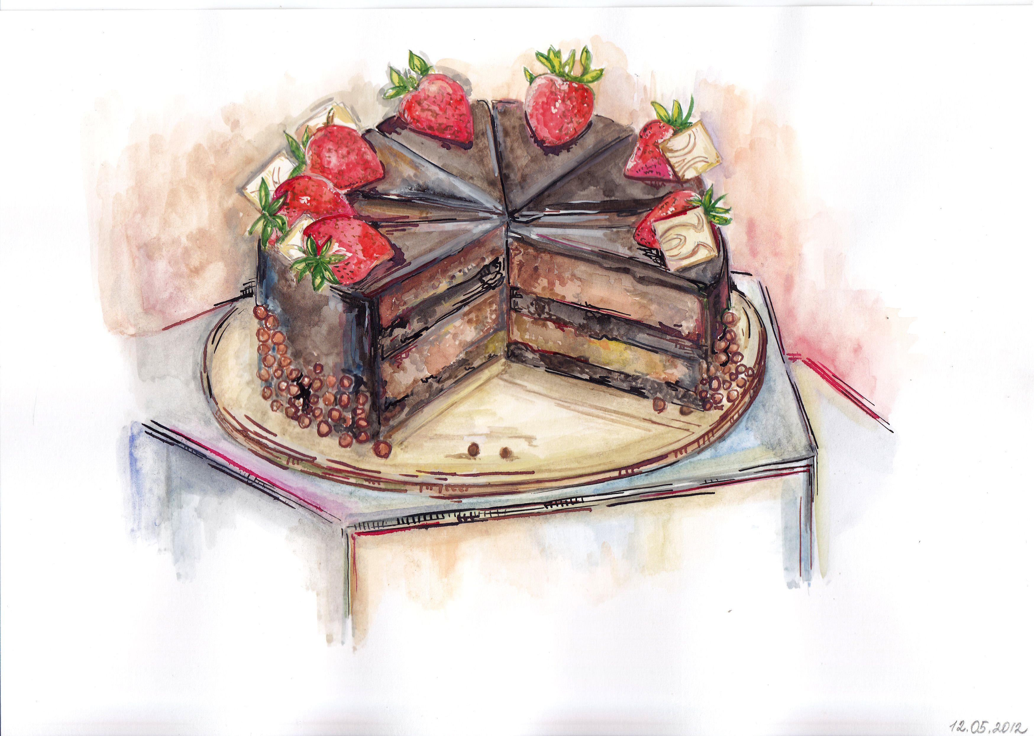 Food Painting Dessert Art Baking Illustration Kitchen Wall Art Funfetti Cake Art Print Pink Frosted Cake Painting Slice of Cake Print