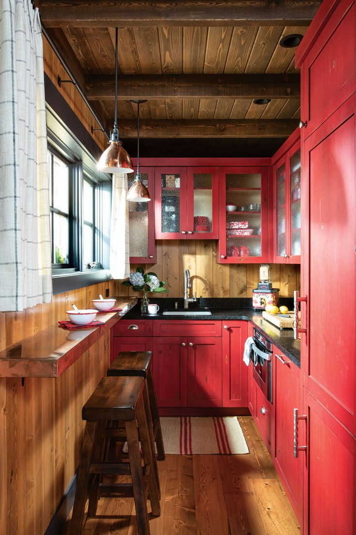 Photo of Kitchen – A Lakeside Log Cabin With Vintage Style in Montana