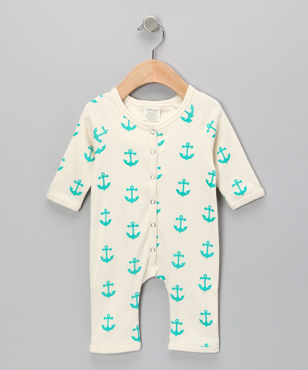 Take a look at this Neutral White & Teal Anchor Organic Playsuit on ...