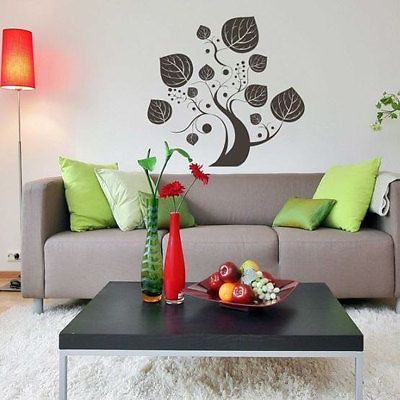 Tree and leafs Floral Decor Birds and Leafs Wall Decal Art Vinyl Sticker tr587