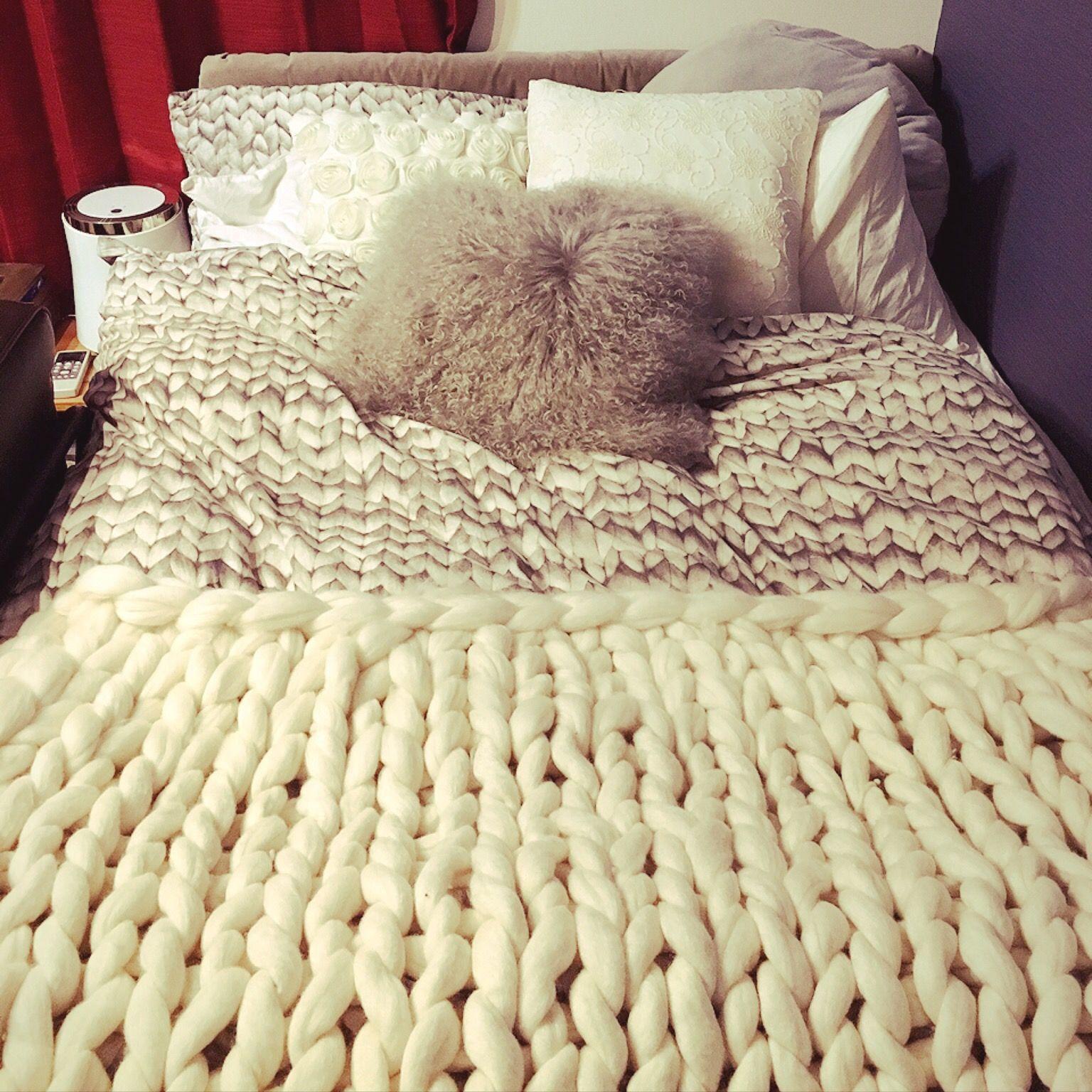 チャンキーヤーンのブランケット編み方