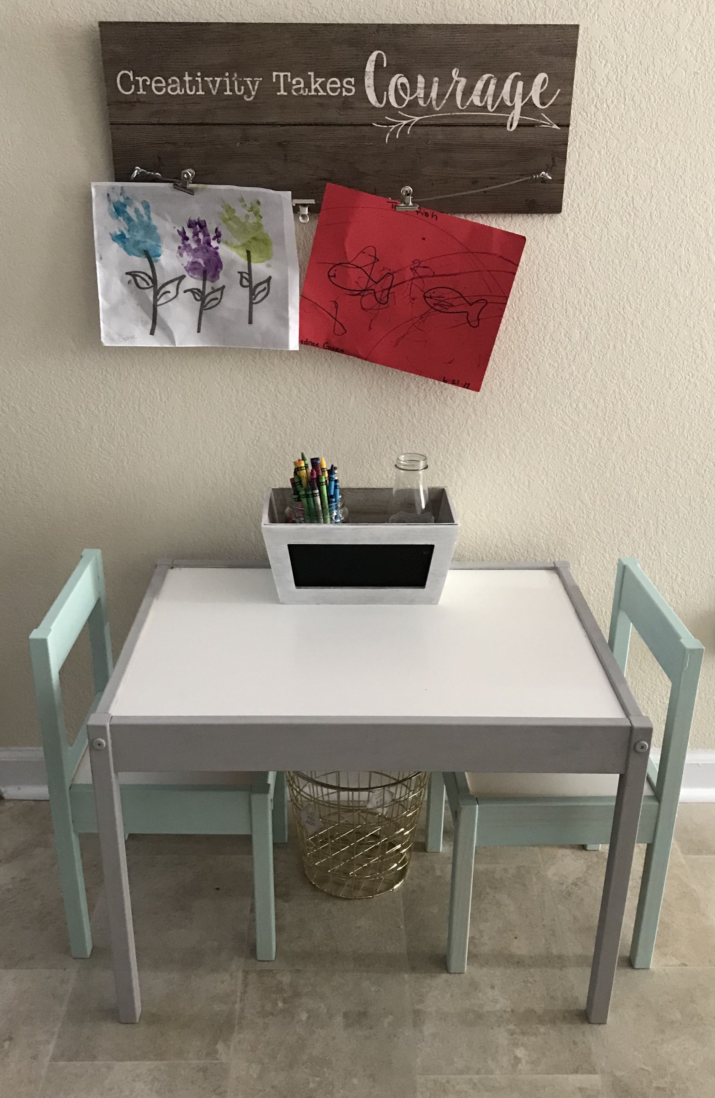 IKEA Latt table and chair set. Painted w/ chalk paint