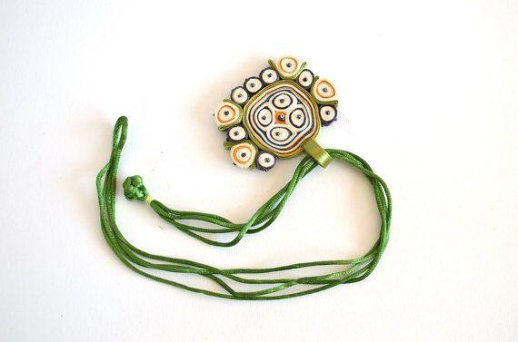 Necklace Green White   Fiber Pendant Green by AudraTextileStudio, $35.00
