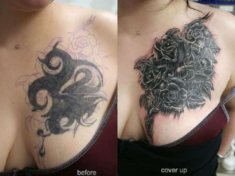 Wonderful Black Roses Cover Up Tattoo On Chest Cover Up Tattoos Chest Tattoo Cover Up Wrist Tattoo Cover Up