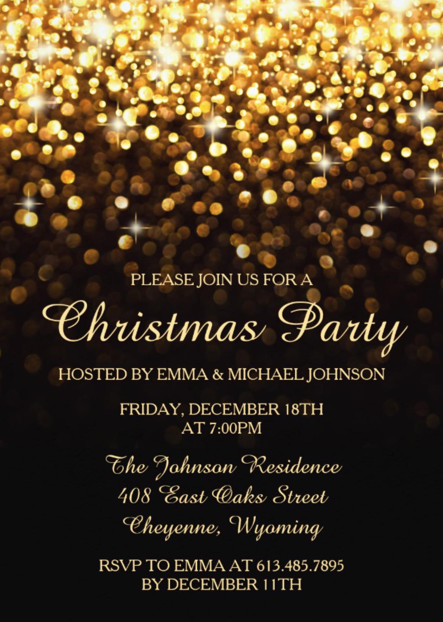 Christmas Invitation Background Gold.Elegant Christmas Party Gold Shimmering Lights Invitation