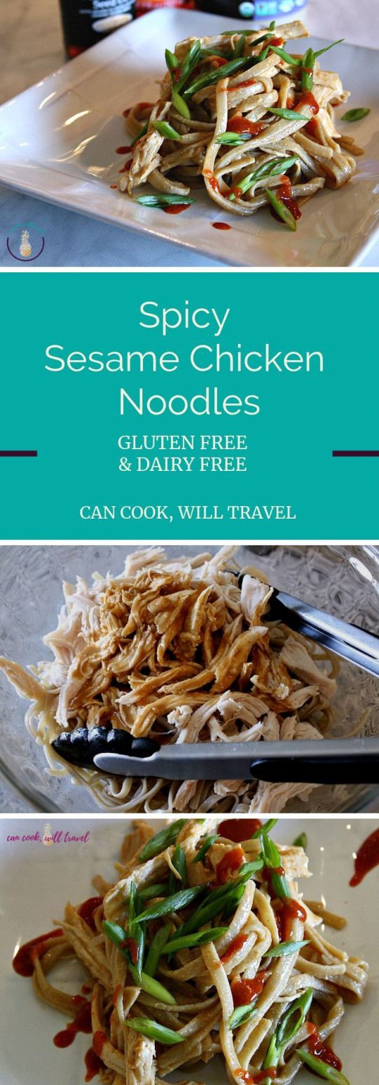 These Sesame Chicken Spicy Noodles are seriously so good & super easy to make! [gluten free dairy free] #glutenfree #dairyfree #ricenoodles #tahini #spicynoodles #dairy #dairy #book