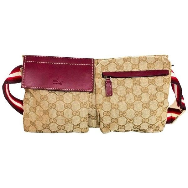 9e6afb2c1f261f Preowned Gucci Red, Burgundy & Beige Monogram Belt Bag/ Waist Pouch ($490)