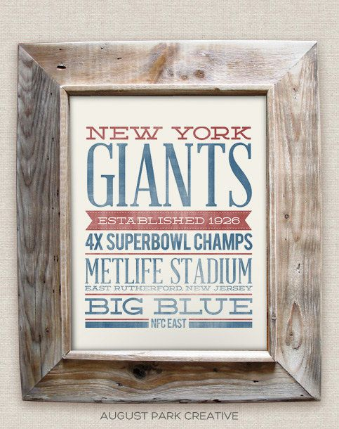 8b81fd0d0 NEW YORK GIANTS - 8x10- Rustic - Vintage Style - Typographic Art Print -  Subway Style - Football.  12.00