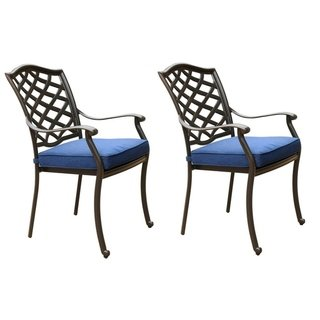 Pinnacle Aluminum Dining Arm Chair With Cushion Set Of 2 Cast