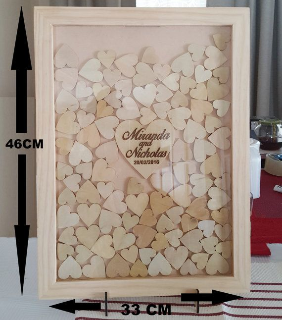 Wedding Guest Book Drop Box Frame Rustic Look 100 Wooden Hearts The