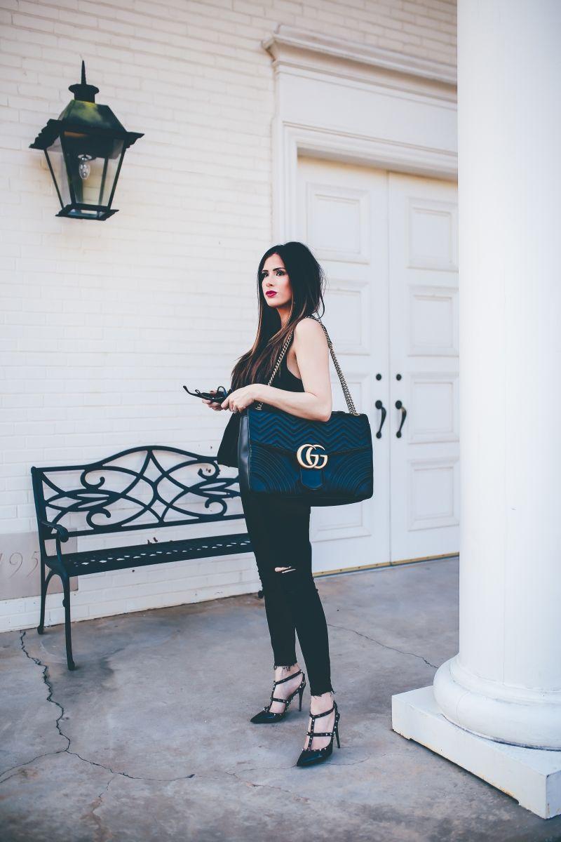 d6c1d512c7c fall fashion 2017, DL1961 instasculpt jeans review, Harvey fairfield peplum  top, gucci Marmont Maxi black, black valentino rockstud heels, emily gemma  blog, ...