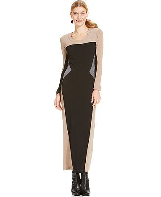 NY Collection Petite Colorblocked Maxi Sweaterdress