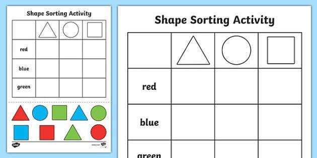 Pin On Pre K Sorting shapes kindergarten worksheets