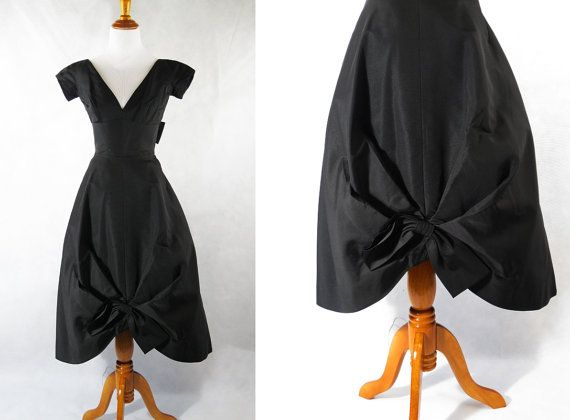Dang it! Too Small. Vintage 1950s 50s Cocktail Party Dress Black by alleycatsvintage, $62.00