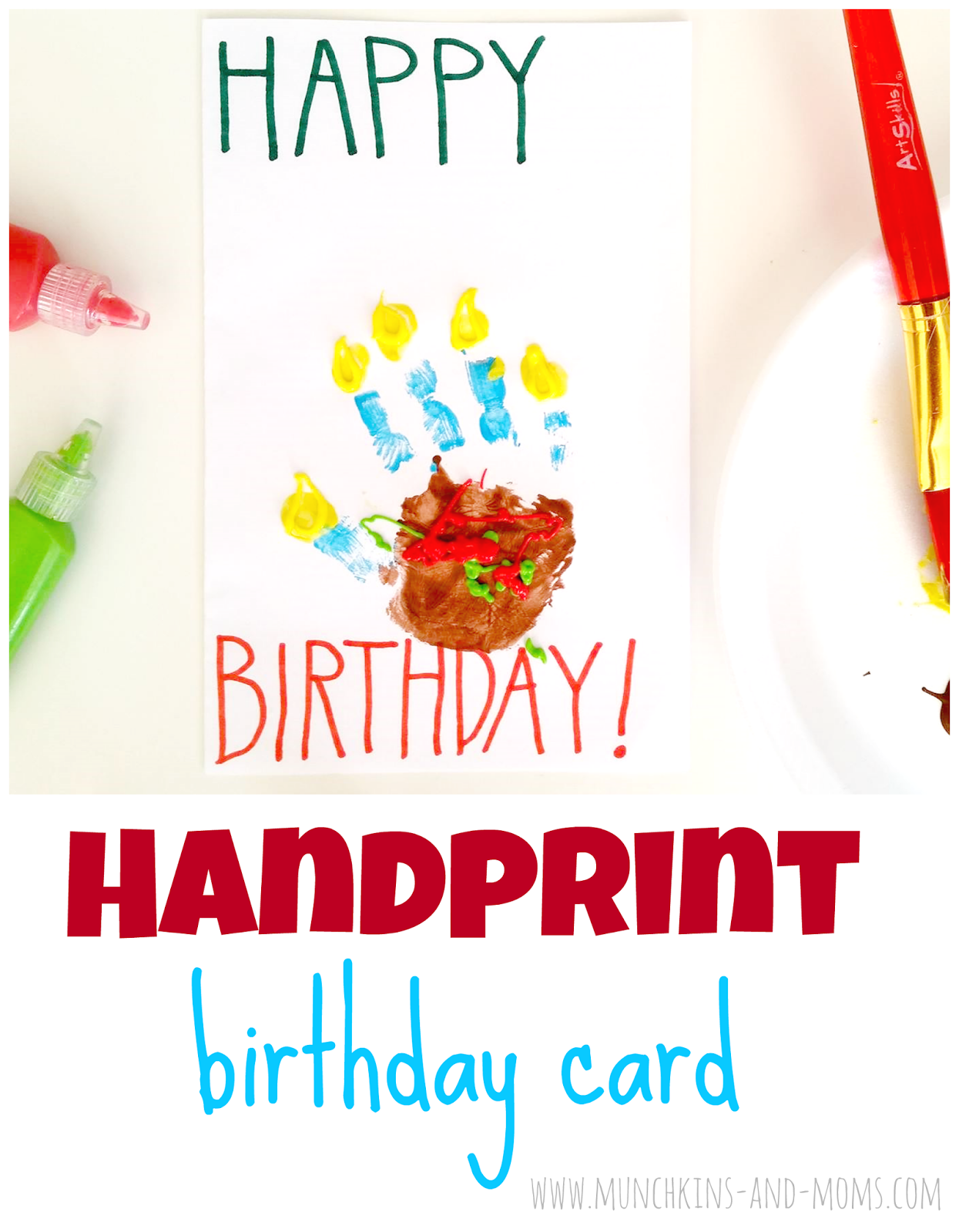 Handprint birthday cards made to look like a piece of cake diy