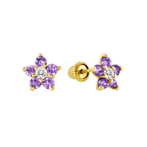 14k Yellow Gold Purple Amethyst Cz Flower Stud Earrings For Little S Babies Jewelry