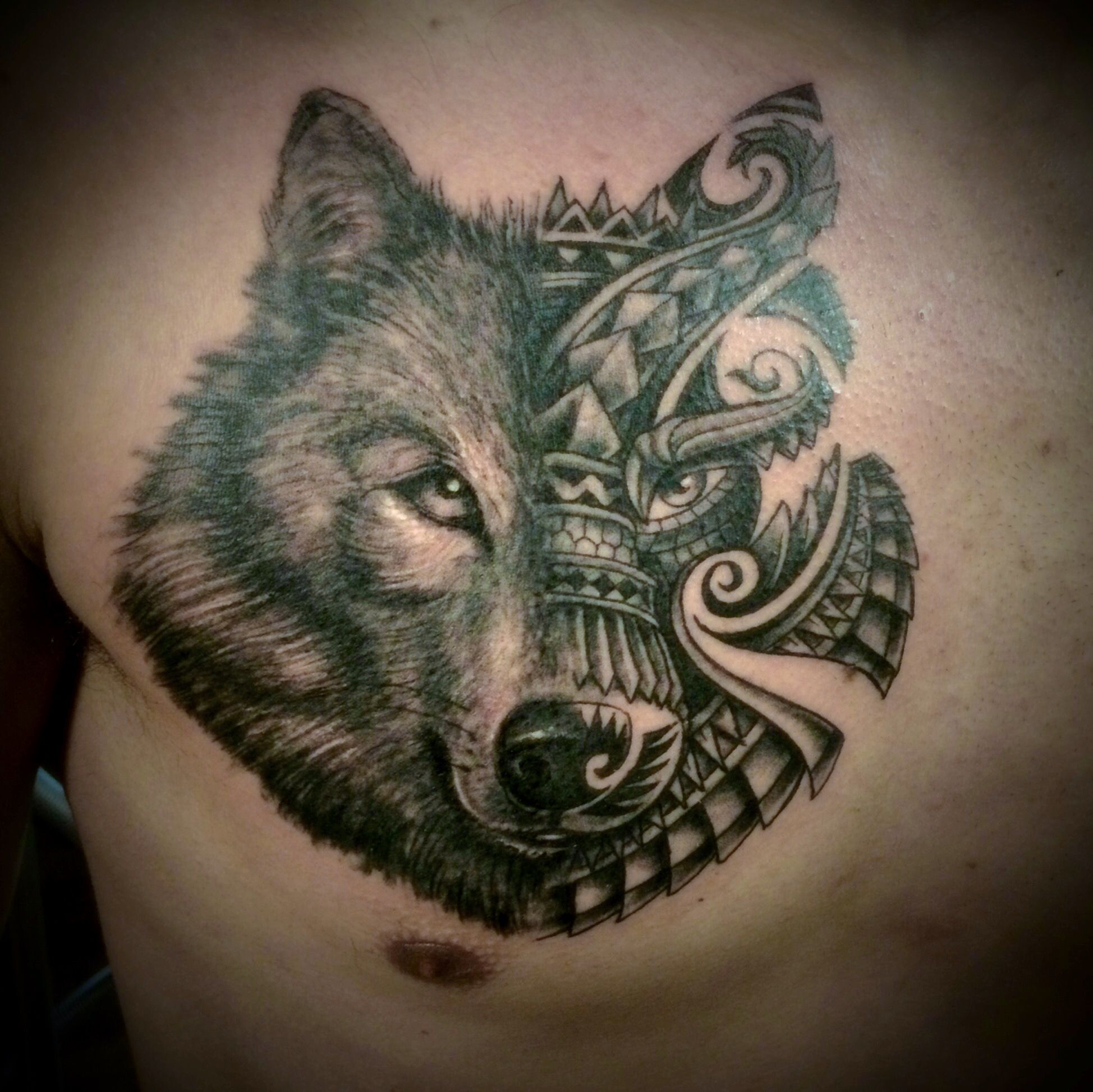 tribal wolf tattoo on chest. #doctorpete # ... - photo#17