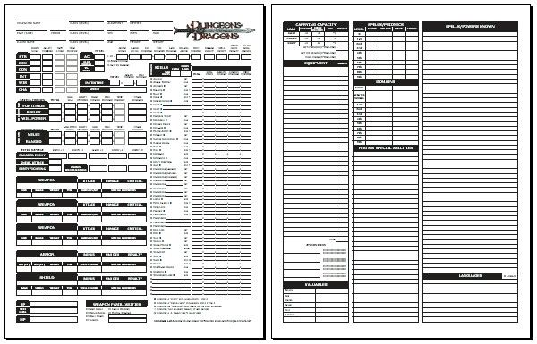 Pin by Dobby The Elf on Gaming: Character Sheets: AD&D/ShadowRun