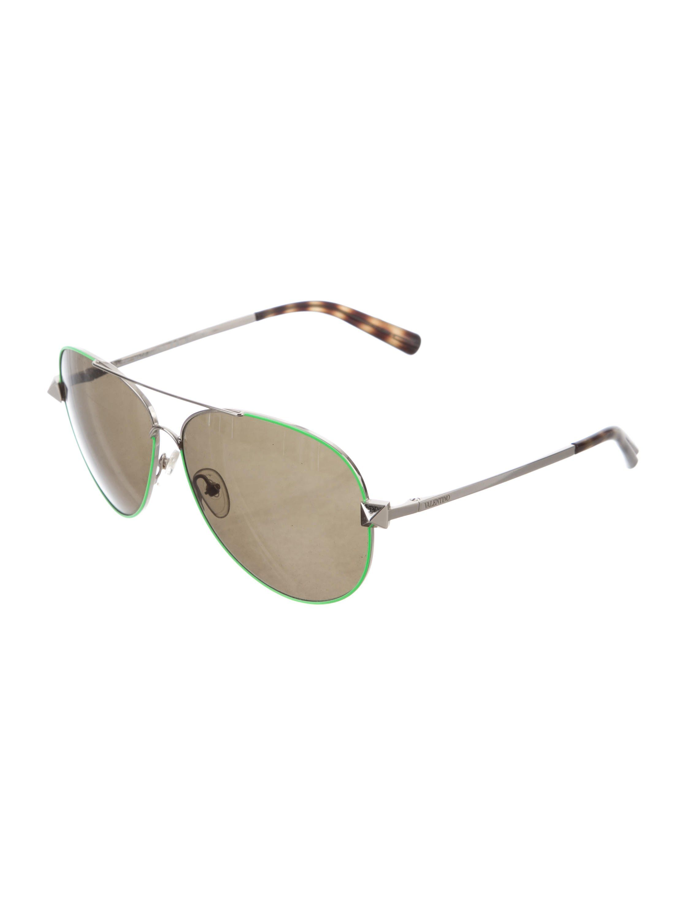 5c770543dad6 Green and silver-tone metal Valentino aviator sunglasses with tinted lenses  and logos at arms. Includes box and case.