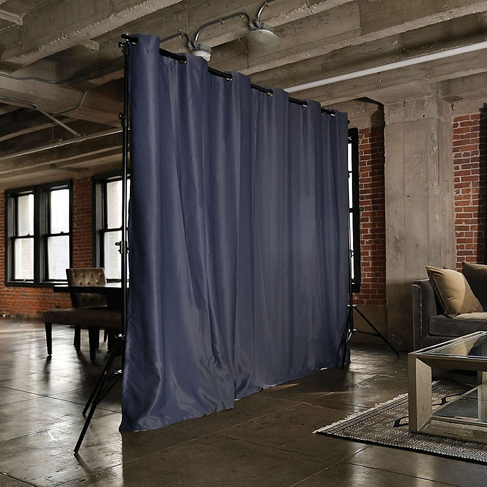 Roomdividersnow Freestanding Room Divider Kit With 8 Foot Tall Curtain Panel A Bed Bath Beyond In 2021 Freestanding Room Divider Fabric Room Dividers Hanging Room Dividers