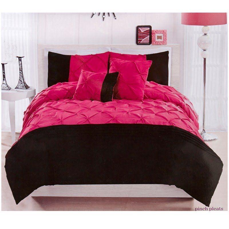 Black pink teen bedding