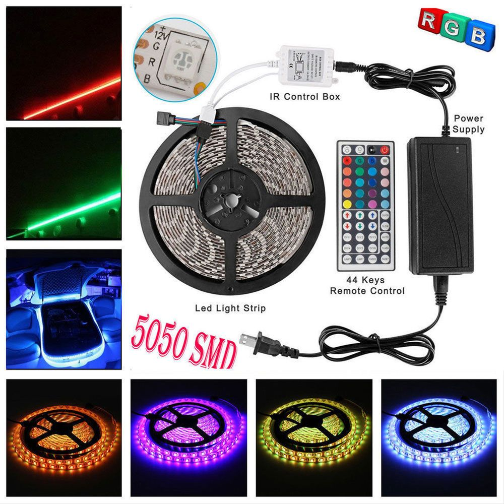 Led Light Strips With Remote Cool 164Ft 5050 Led Light Strip Rgb Waterproof 12V 5A Power Supply 44