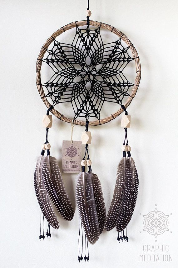 This black doily dream catcher wall hanging will make a great decorative touch to any space. Dreamcatcher may be an ideal gift for a birthday or in any other occasion. • Diameter: 9 (23cm) | Length: 20.5 (52cm) not including hanging ribbon. • The doily lace is individually
