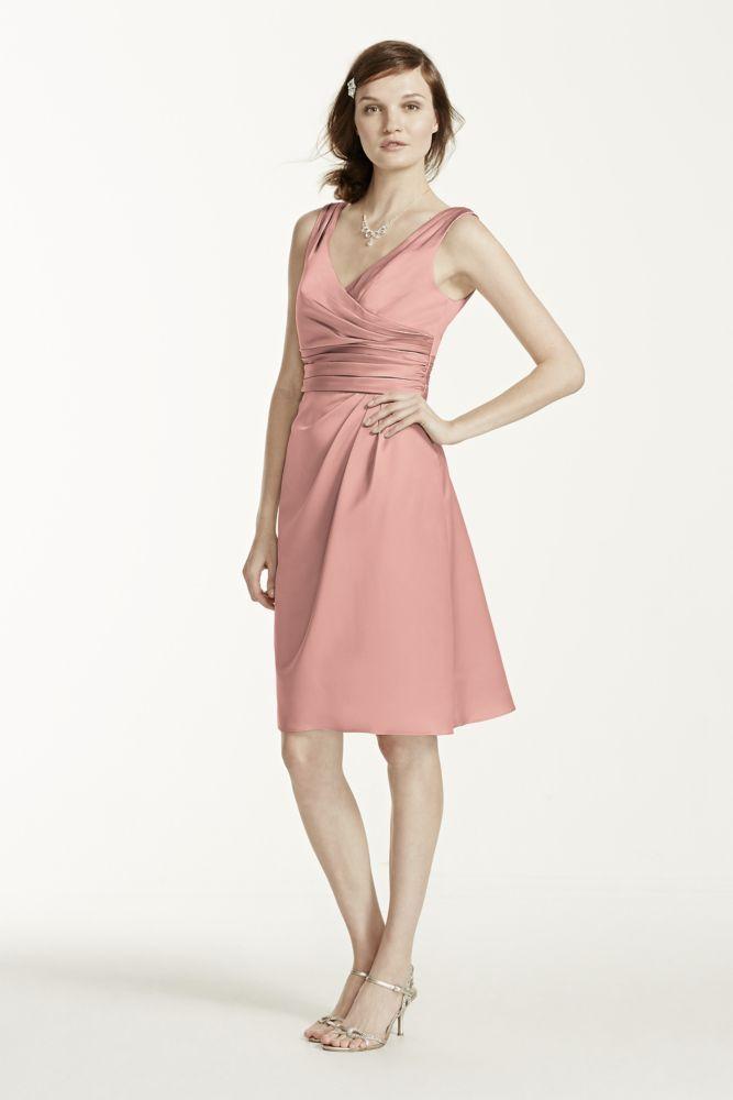 Short Sleeveless Satin Bridesmaid Dress with Ruched Waist | Nice ...