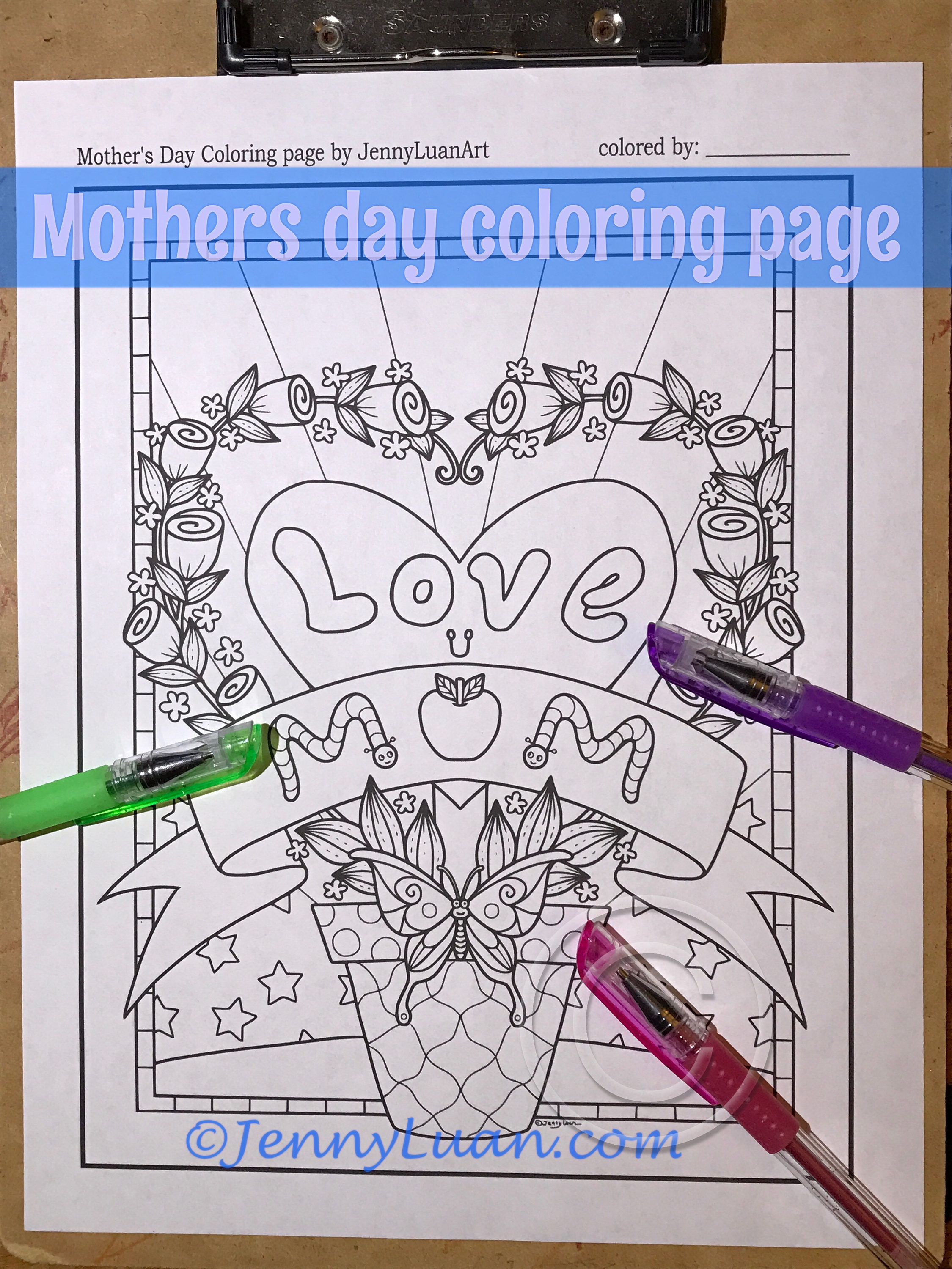 I Love You Mom Flower Butterfly Adult Coloring Page By Jenny Luan By