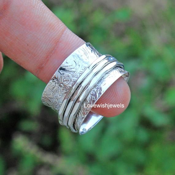 Spinner Ring* Onyx Spinner Ring* 925 Silver Ring* Onyx Ring* Women Ring* Anxiety Ring* Worry Ring* Fidget Ring* Wending Ring* Gift For Him
