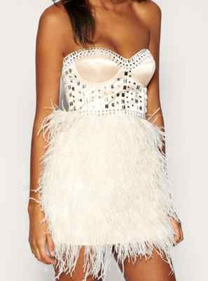 lipsy embellished beaded diamante corset ostrich feather
