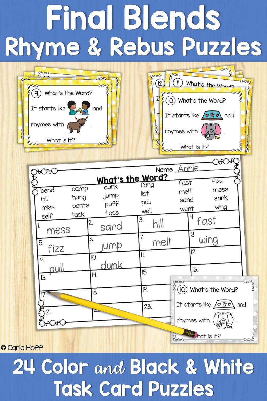 Final Blends Rhyme & Rebus Puzzles Word work fun