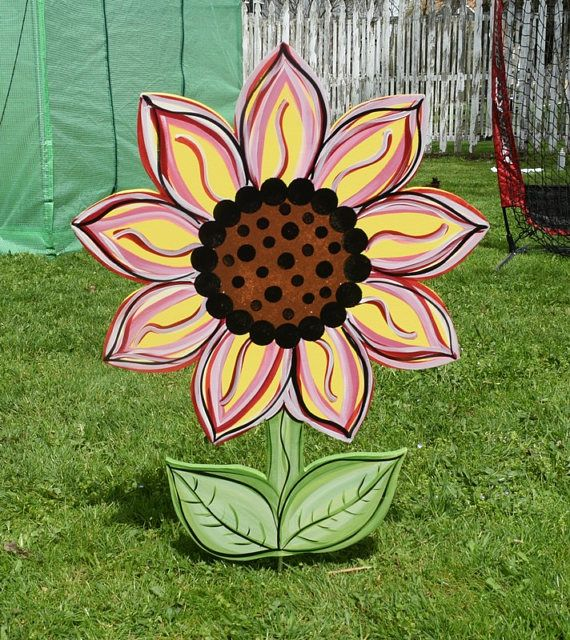 Sunflower Yard Art Stake Wood Painted Sunflower Garden Stake