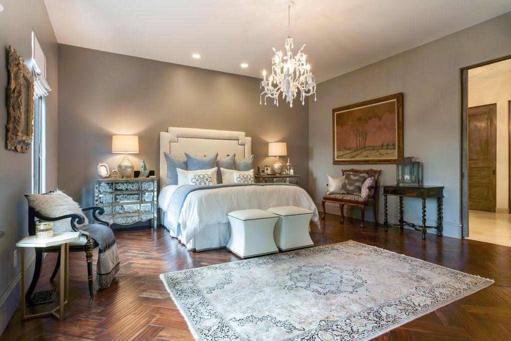 Traditional Master Bedroom with herringbone tile floors, Safavieh ...