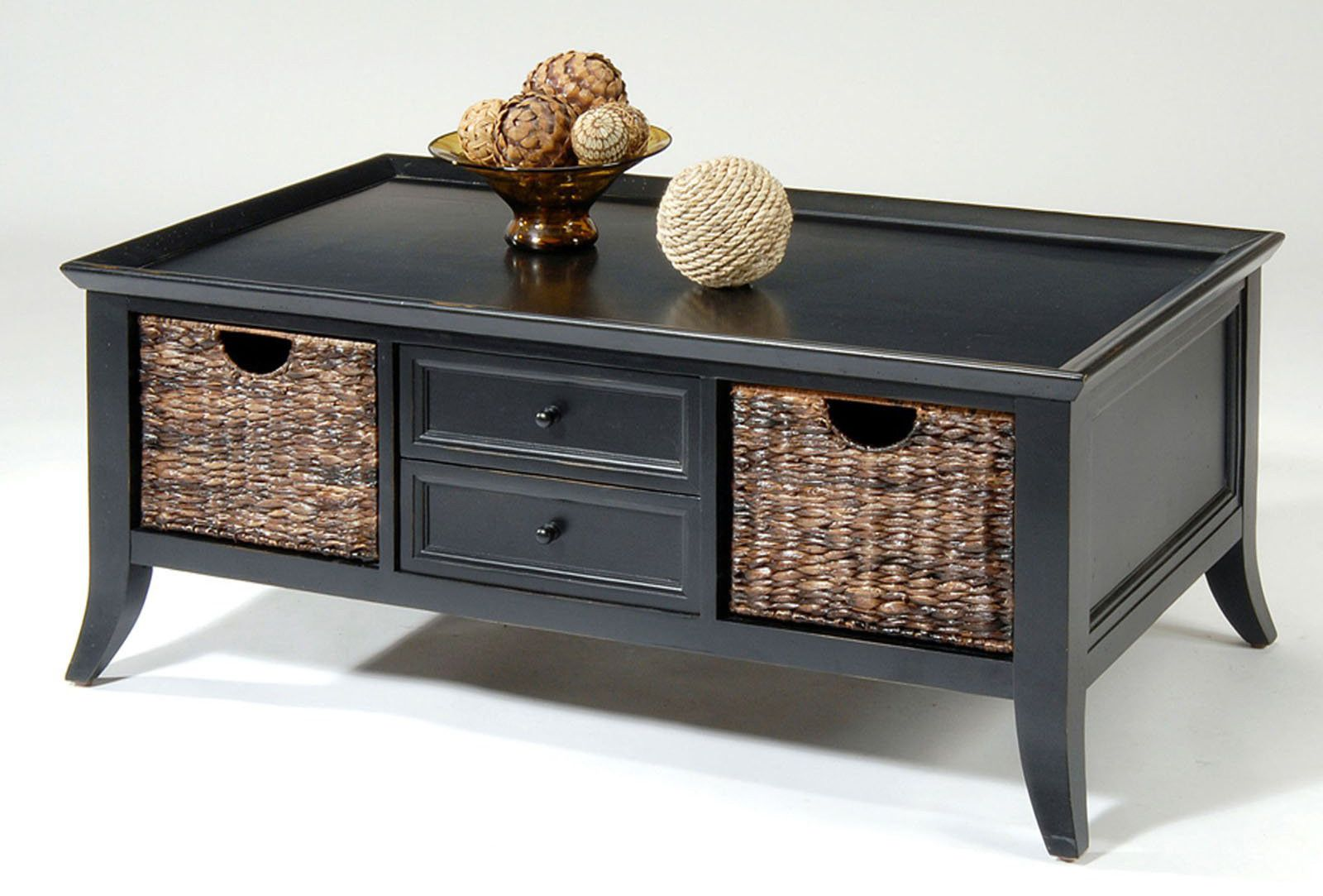natural coffee table with storage