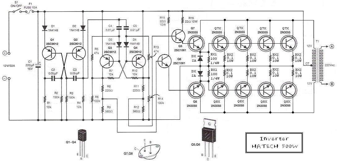 500W power inverter circuit diagram_Circuit Diagram World ...