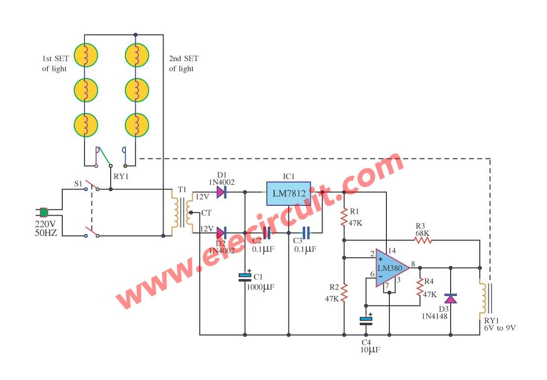 Christmas Tree Lights Flasher Circuit Using Ic 7812lm380 Led Parallel In Lighting
