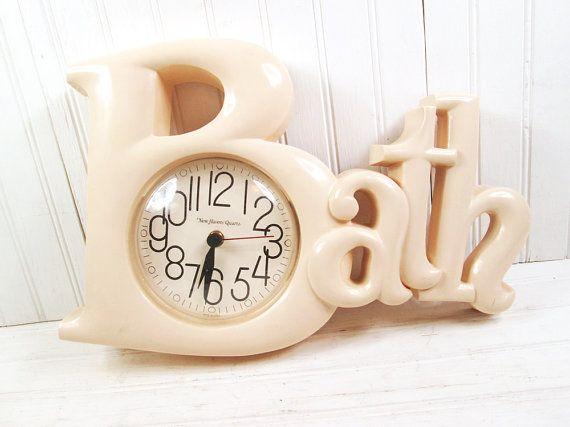 Vintage Burwood Bath Word Wall Clock 2654 Plastic Retro Beige Tan