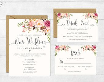 Floral Rustic Wedding Invitation Printable Boho Chic Wedding - Wedding invitation templates: vietnamese wedding invitation template