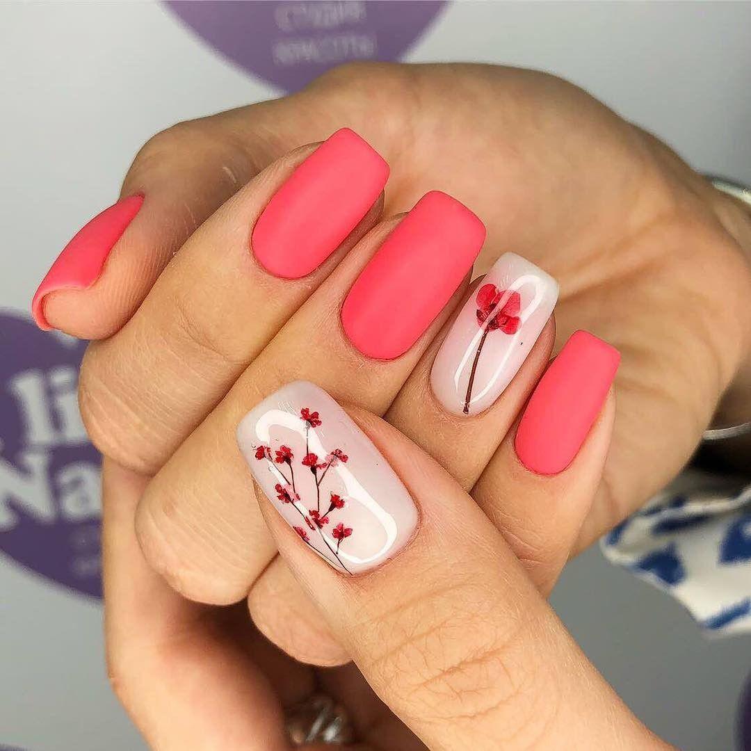 Pink Simple Flower Design Cute Spring Nails Floral Nail Designs Cute Nail Art Designs