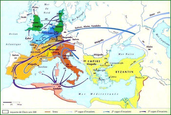 Carte du début du Moyen Âge   Éducation   Pinterest   France and Paris