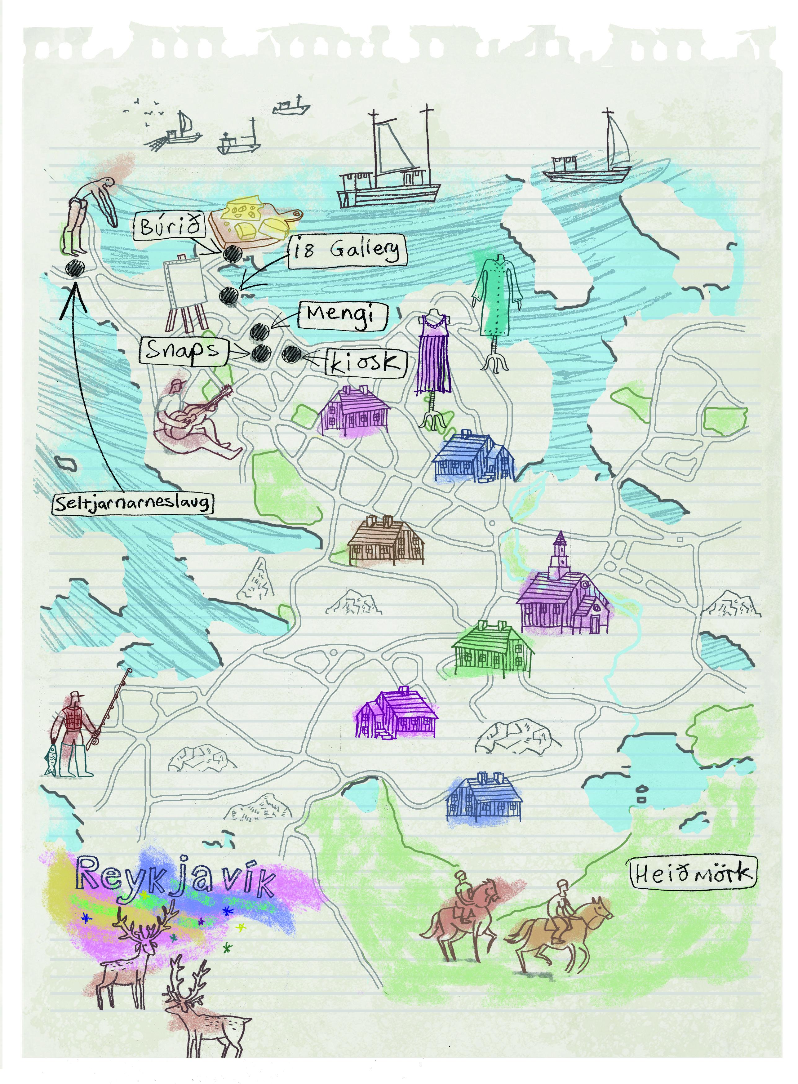 Reykjavik Map By Robert Littleford Maps Reykjavik Map Map