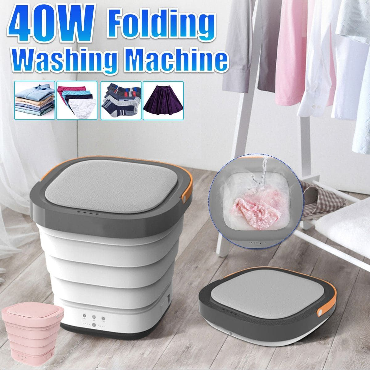 Portable Mini Folding Clothes Washing Machine Bucket Automatic Home Travel Self-driving Tour Underwear Foldable Washer and Dryer