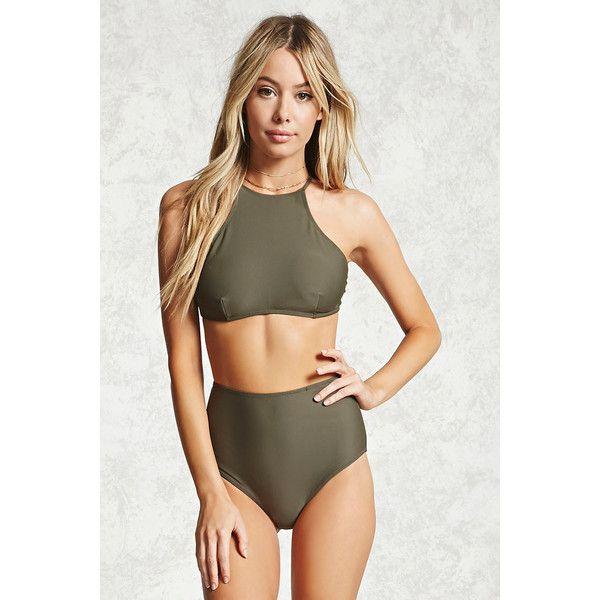4c676fbfd0e Forever21 High-Waist Bikini Bottoms ($16) via Polyvore featuring swimwear,  bikinis, bikini bottoms, olive, high waisted two piece, high waisted bikini  ...