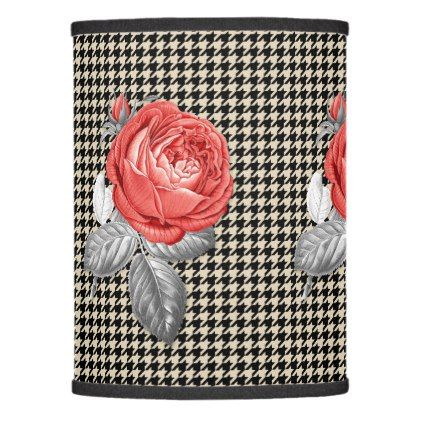 Vintage roses shade pink and lamp houndstooth pattern PZiOkXuT
