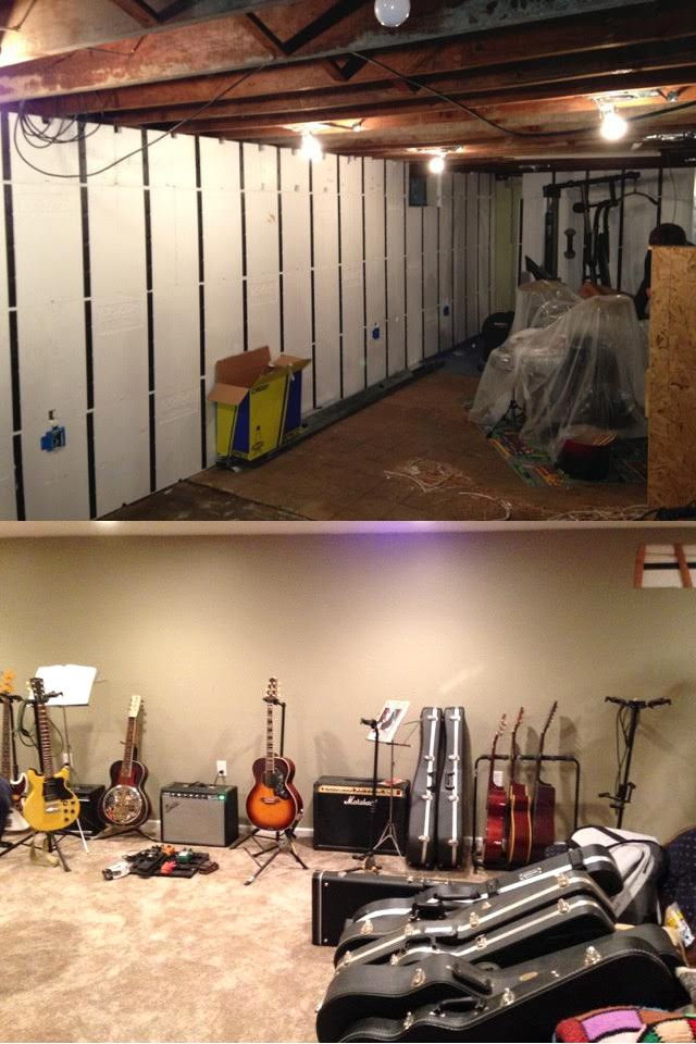 Before And After An Unfinished Basement Undergoing An Insofast