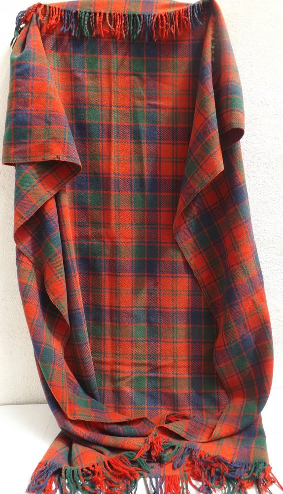 Vintage Wool Tartan Travel Picnic Car Rug In Red Green And Blue