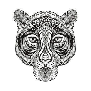 dessin noir et blanc zentangle stylis tiger visage main doodle dessin illustration isol sur. Black Bedroom Furniture Sets. Home Design Ideas