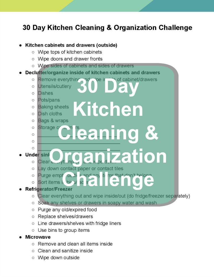 The 30 Day Kitchen Cleaning  Organizing Challenge withTips Free