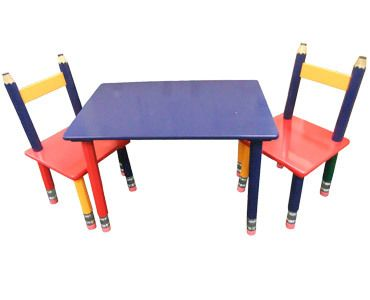 Kids Table and Chair - Pencil Design Childrens Table Set with 2 Chairs FREE POST  sc 1 st  Pinterest & Kids Table and Chair - Pencil Design Childrens Table Set with 2 ...